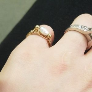 Jewelry - Tiny Gold Wire Wrap Pearl Ring